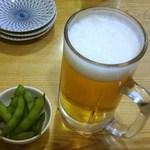 40730670 - お通し(枝豆)と生ビール(中)