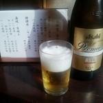 神田きくかわ - ビール(中)670円。アサヒ熟撰。
