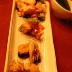 横浜石川町バル - スモーク4種盛り チキン、ムール貝、サーモン、帆立