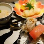 40742562 - 会席料理「丹波」(先附:胡麻豆腐、焼帆立、本鮪背とろ寿司、鱧炙り寿司)