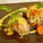 アンクィール - ENCUEIL Lunch Petit course (若鶏もも肉のロースト パートカダイフ包み マディラ酒のソースととうもろこしのピュレ)