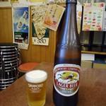 三ちゃん食堂 - 「キリンラガー(大瓶)」550円也。グラスはサッポロ。