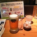 松本からあげセンター - 生ビールとガリもやし