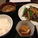 釜めし古都 - 茄子味噌炒め定食