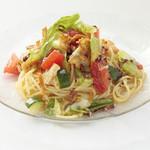 三年坂モリコーネ - 北海道産ホタテ貝柱といろいろ野菜の和風冷製スパゲッティーニ