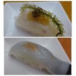 40792982 - ◆鯛・・大根おろしでいただきます。海ぶどうの食感もいいですね。                       ◆ヤリ烏賊・・コレも塩で。甘みのある美味しいイカでした。