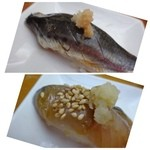 40792985 - ◆鰯・・生姜がのせられています。脂ものり美味しいですよ。                       ◆下の画像の品は、忘れましたm(__)m 「鯵」だったような気もするのですけれど。