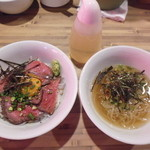 焼肉ここから - ハーフローストビーフ丼&冷麺セット¥980