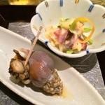 さかな竹若 - お通し:貝と蛸