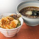 七福 弁天庵 - いかと季節野菜の天丼とかけそば