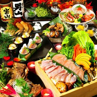 地鶏を贅沢に♪こだわりの『鶏すき焼き鍋』付コース2999円~