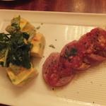 カスピタ!東京 - 小海老と枝豆のフリッタータ・ミートローフのベーコン包み