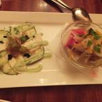 カスピタ!東京 - 水ナスとモッツァレラチーズのサラダ仕立て・キスと旬野菜のエスカベッシュ