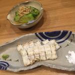 大玖 - アナゴの白焼き、キュウリの浅漬け