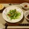 ペンション 山ぼうし - 料理写真:夕食①(レタスララダ 茄子味噌和え きのこソテー メレンゲシーフードグラタン)