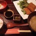 麹蔵 - 豚汁定食(カニクリームコロッケ)