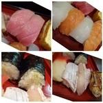 魚旬 - 中トロ2貫・・このお値段で頂く鮪としては質がよく美味しい。 イカ・サーモン・鯛・海老・間八・穴子・玉・イカそうめんの巻物2貫・ミル貝・玉など。