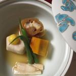 新井旅館 - 冷し煮物:鰻千段巻 南瓜 白ダツ胡麻 細隠元豆 里芋 新銀杏