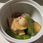 新井旅館 - 止鉢:茄子油煮 甘鯛 蟹進丈 青唐辛子 一味卸し 美味出汁