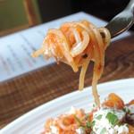 40873281 - ジャガイモと自家製リコッタチーズのトマトソースパスタ