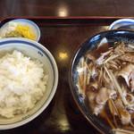 生そば 高山 - 料理写真:肉南ばん蕎麦と半ライス