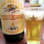 舟和 - キリン一番搾り¥550とサッポロビールのグラス