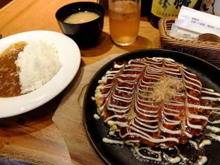 五郎っぺ屋 - お好み焼き定食 830円(消費税8%時)
