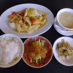 中国料理 福 - 夜の定食「シーフードの海老ソース炒め」