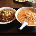岩香屋 - ランチセット(四川ラーメン+麻婆飯)