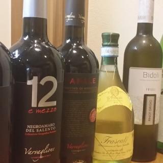 豊富なイタリアワインを、リーズナブルにお楽しみいただけます。
