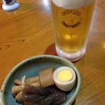 居酒屋寅っこ - ビールとお通しの冷たいおでん