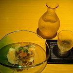 鮨 魯山 名鉄店 - お通しと八海山