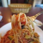 スペイン料理 イビサ - パスタ(ナスとトマト)リフトアップ