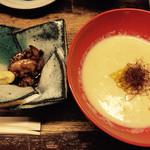 Fukuwauchi - キモの赤ワイン煮、トウモロコシのすり流し