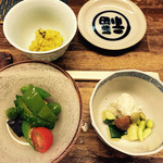 Fukuwauchi - 野菜の煮浸し、カボチャサラダ、ピスタチオ風味の白和え