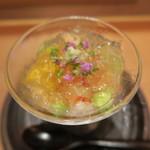 40957229 - 紫蘇ムース、玉蜀黍かき揚げ、車海老、枝豆、鰹出汁ジュレ掛け