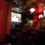 ビアカフェ 米風 - 店内では大画面で放映中