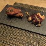 東京チャイニーズ 一凛 - 十勝豚2種:黒酢酢豚 えごまのシードとマスタードで、蜜柑で炊いた豚足の唐揚げ 山椒の実と塩で1