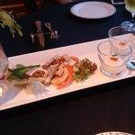 40985578 - 「小さなオードブルとベジタブルのプレート」                          *小さなオードブル2種                          *野菜スティック                         *彩りの蒸し野菜 バーニャカウダソース