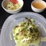 DELI MARKET BERUWALA - 冷製タリオリーニ 焼きナスとモッツアレラの枝豆ソース(スープ・サラダ付)1200円