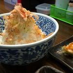 三竹寿 - オクラーメンの余ったスープをかけて食べる冷たいご飯が付いてきた。洗ってあり、粘りをとってある。すごい量で驚く。
