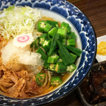 三竹寿 - ちゅら塩冷やしオクラーメン 軟骨ソーキ添え 750円 チラシの写真より断然美味そうで、逆に拍子抜け。