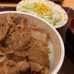 すき家 - 豚丼(並盛)+サラダセット