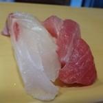 高玉 - ◆鯛と中トロ・・中トロは上品な脂を感じますけれど、見た目が・・ 鯛は普通。