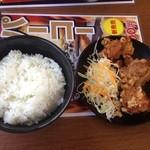 一麺亭 - 唐揚定食(通常920円→ランパスVol.3提示で500円) ●唐揚げ・ごはん