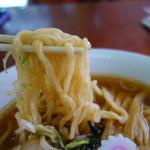 ひらの食堂 - 自家製麺は手打ちそばで表現すると田舎蕎麦のようなごつい食感。