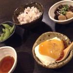 41036937 - セットの郡上豆腐に牛しぐれ・枝豆・ちょことご飯にタレ