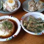 ポロシリ - 野菜たっぷりポテトサラダ・焼売・オクラの胡麻和え・冷やしざる豆腐