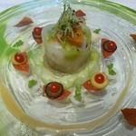 41056376 - 貝類と無農薬の茄子・胡瓜のアンサンブル、キャンディトマト添え、ガスパチョのジュレと共に