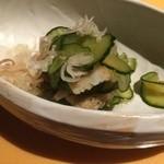 赤坂ジパング - 煮穴子炙り 打ち胡瓜 若布 生姜酢 茗荷